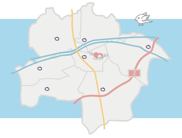 Grafik von Hamm mit Standorten
